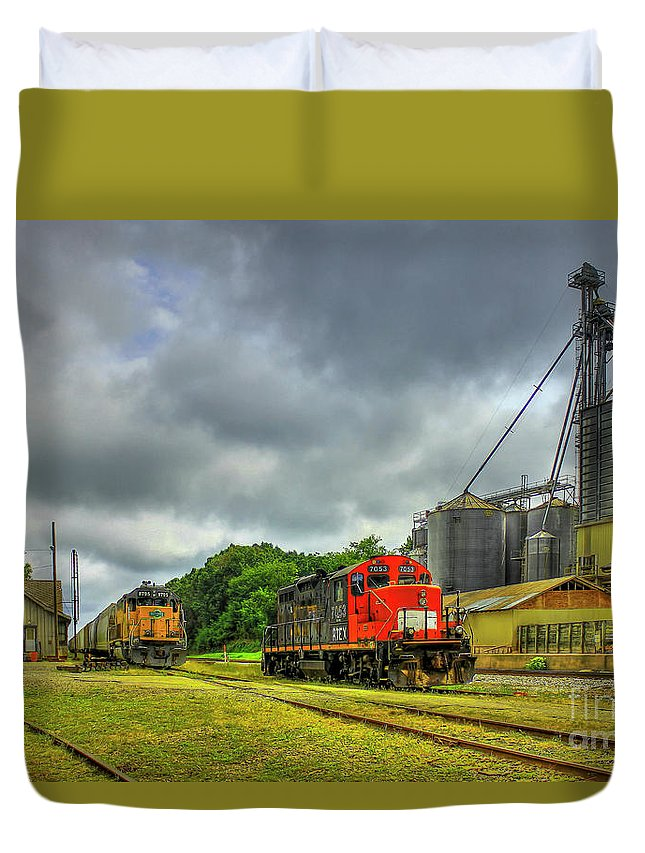 Reid Callaway Train And Track Duvet Cover featuring the photograph Work Horse Trains 7 Madison Georgia Locomotive Art by Reid Callaway