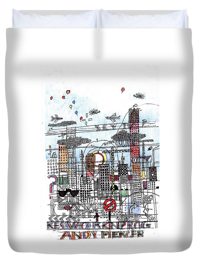 City Duvet Cover featuring the digital art Work In Progress 2 by Andy Mercer