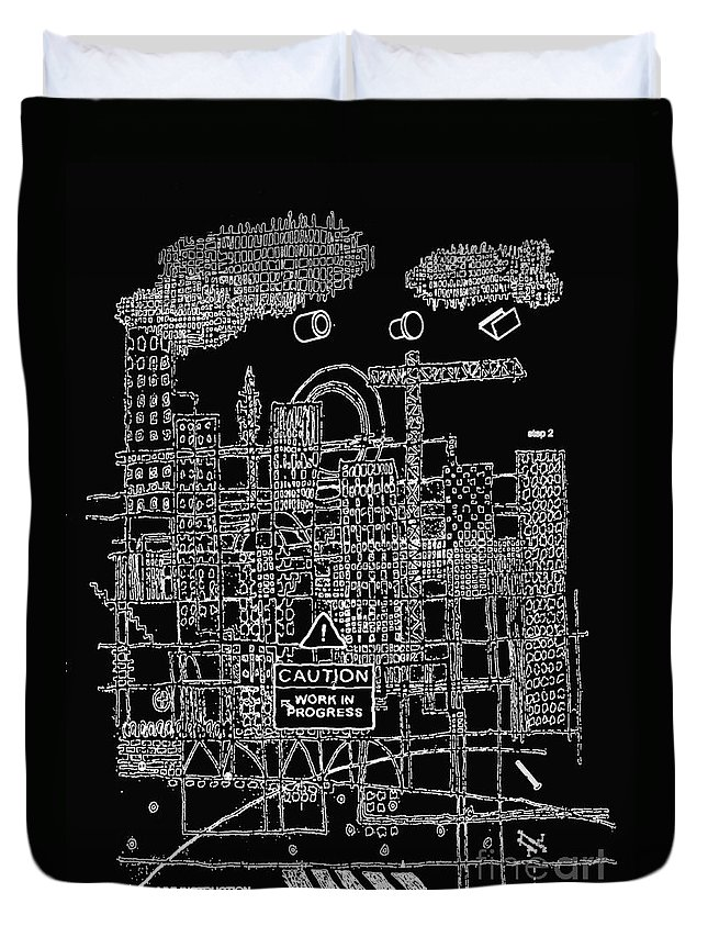 City Duvet Cover featuring the digital art Work In Progress by Andy Mercer