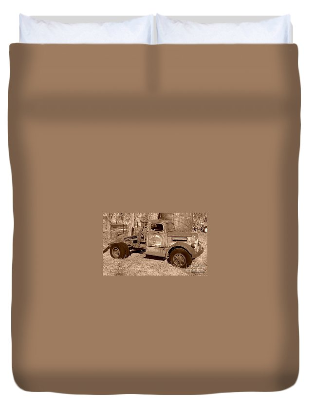 Oil Field Duvet Cover featuring the photograph Worked In The Oil Fields by Tisha Clinkenbeard