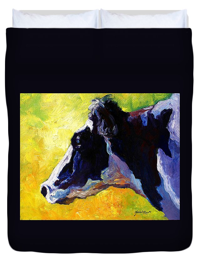 Western Duvet Cover featuring the painting Working Girl - Holstein Cow by Marion Rose