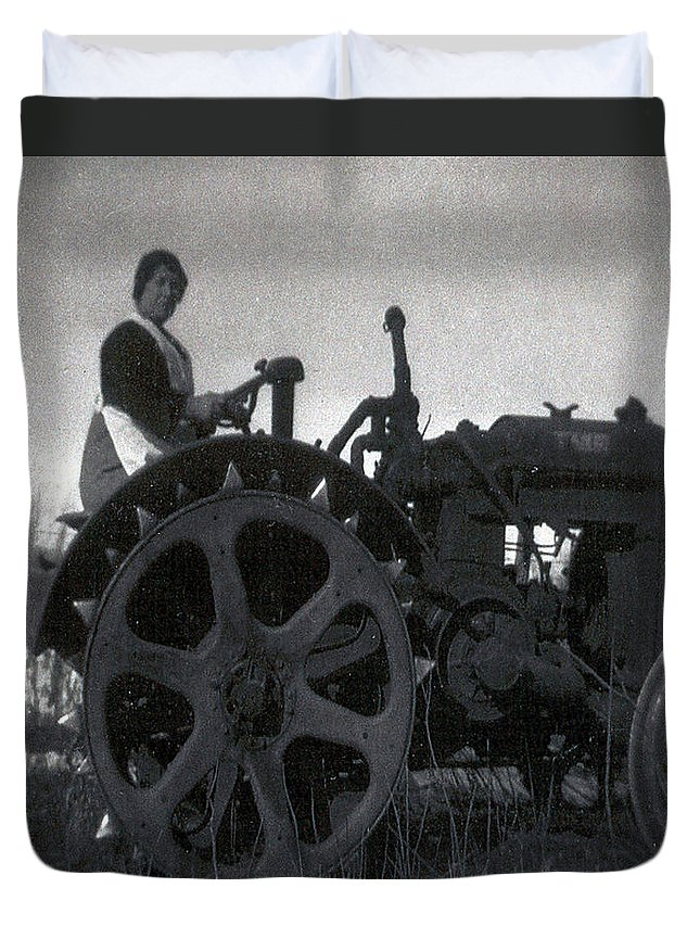 Old Photo Black And White Classic Saskatchewan Pioneers History Tractor Farming Woman Lady Duvet Cover featuring the photograph Working Woman by Andrea Lawrence