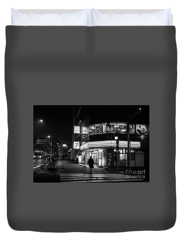 People Duvet Cover featuring the photograph Workout The Night, Tokyo Japan by Perry Rodriguez
