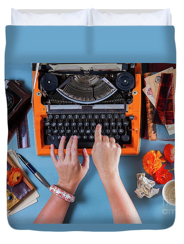 Typewriter Duvet Cover featuring the photograph Chapter I by Anastasy Yarmolovich
