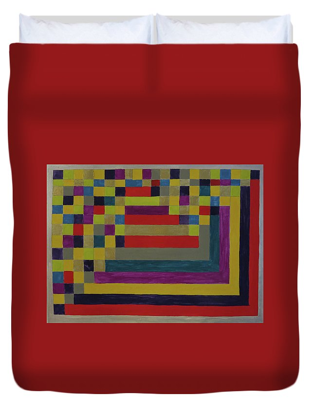 Abstract Duvet Cover featuring the painting World Flag by Laura Raymond