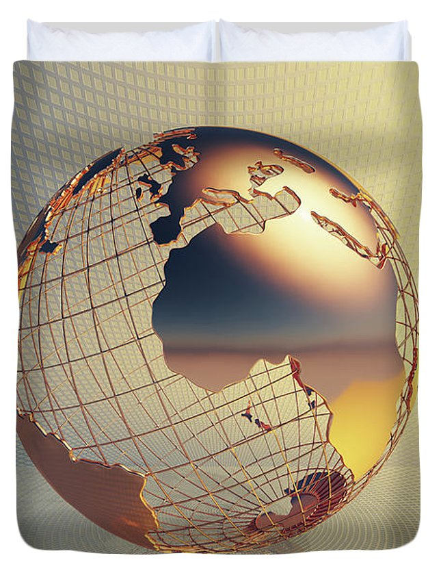 World Duvet Cover featuring the photograph World Global Business Background by Johan Swanepoel