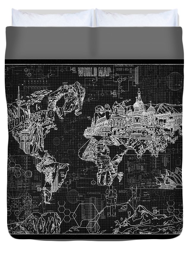 World map blueprint 2 duvet cover for sale by bekim art map of the world duvet cover featuring the digital art world map blueprint 2 by bekim malvernweather Image collections