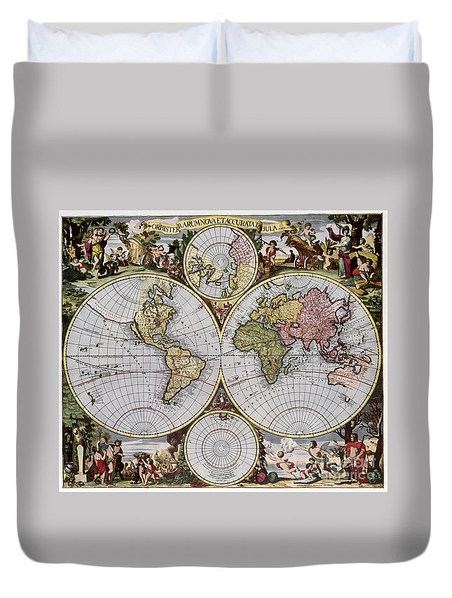 1690 Duvet Cover featuring the photograph World Map, C1690 by Granger