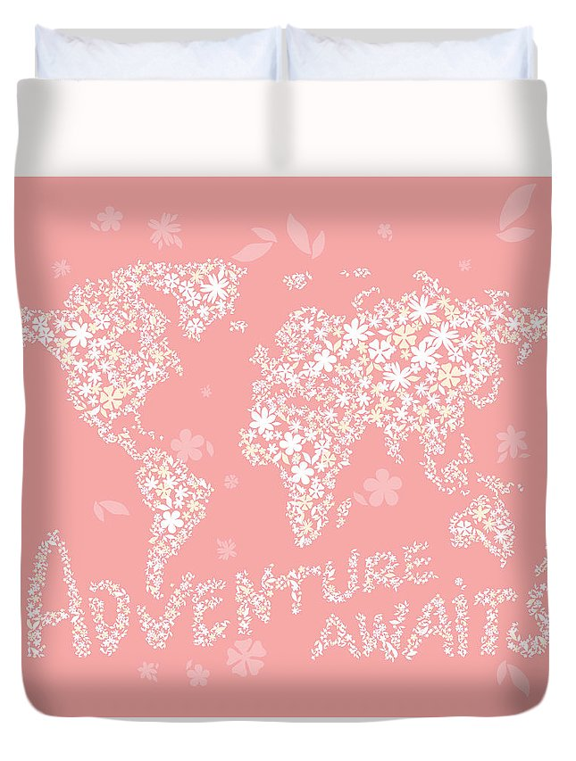 World Map Duvet Cover featuring the digital art World Map White Flowers Pink by Hieu Tran