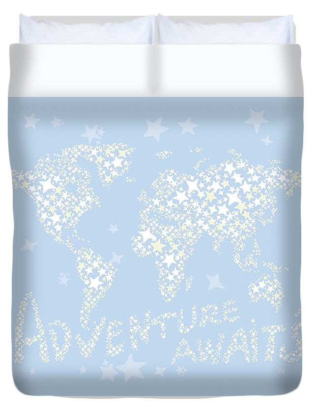 World Map Duvet Cover featuring the digital art World Map White Star Pastel Blue by Hieu Tran
