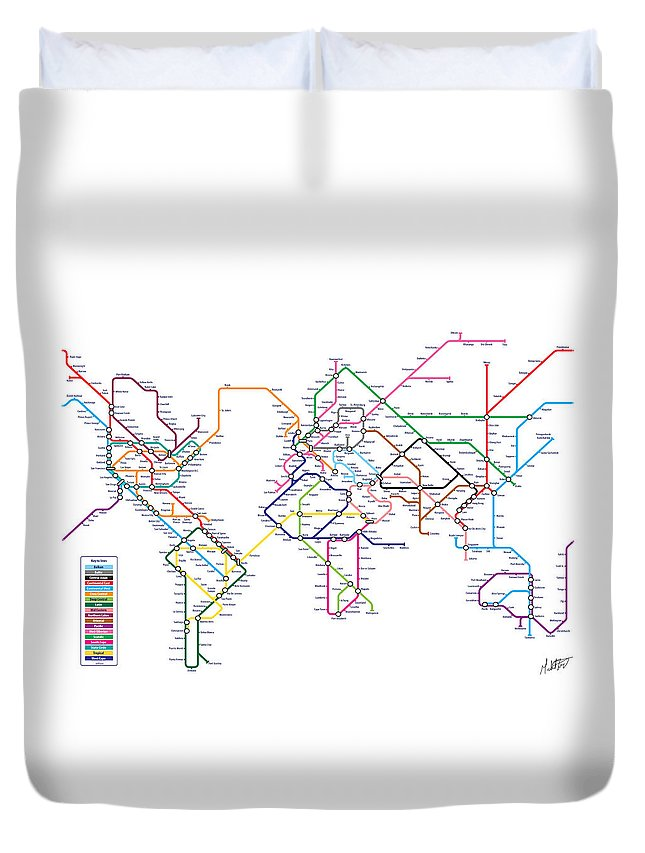 world Map Duvet Cover featuring the digital art World Metro Tube Subway Map by Michael Tompsett