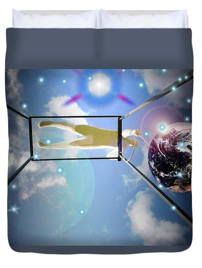 Earth Duvet Cover featuring the photograph World On A String by Mykel Davis