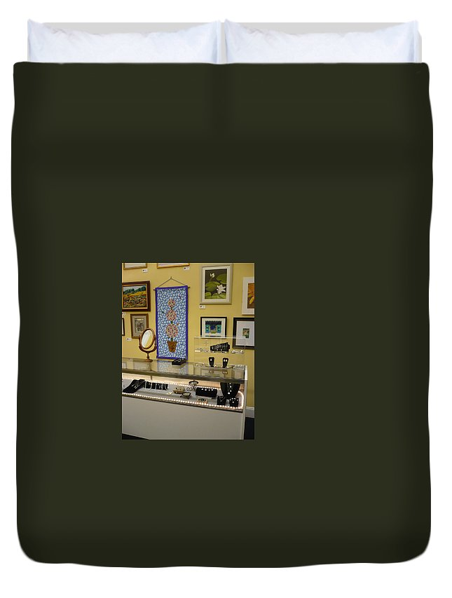 Oil Duvet Cover featuring the painting World-view by Sergey Ignatenko