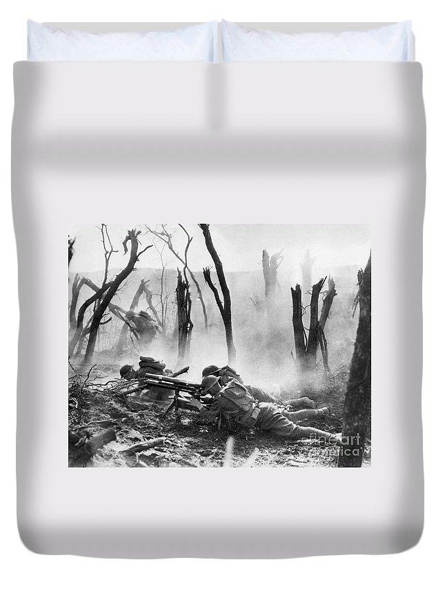 1918 Duvet Cover featuring the photograph World War I: Battlefield by Granger