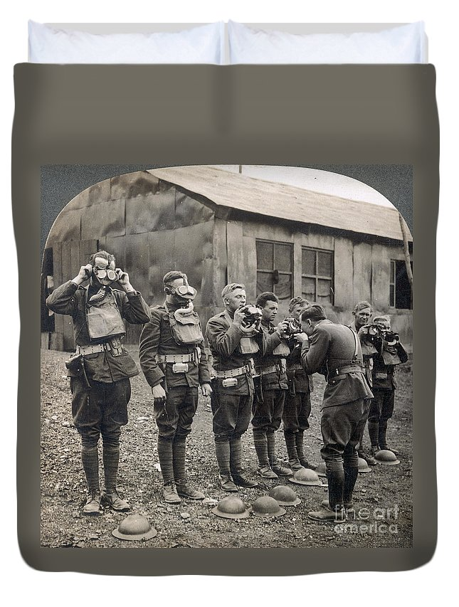 1918 Duvet Cover featuring the photograph World War I: Gas Masks by Granger
