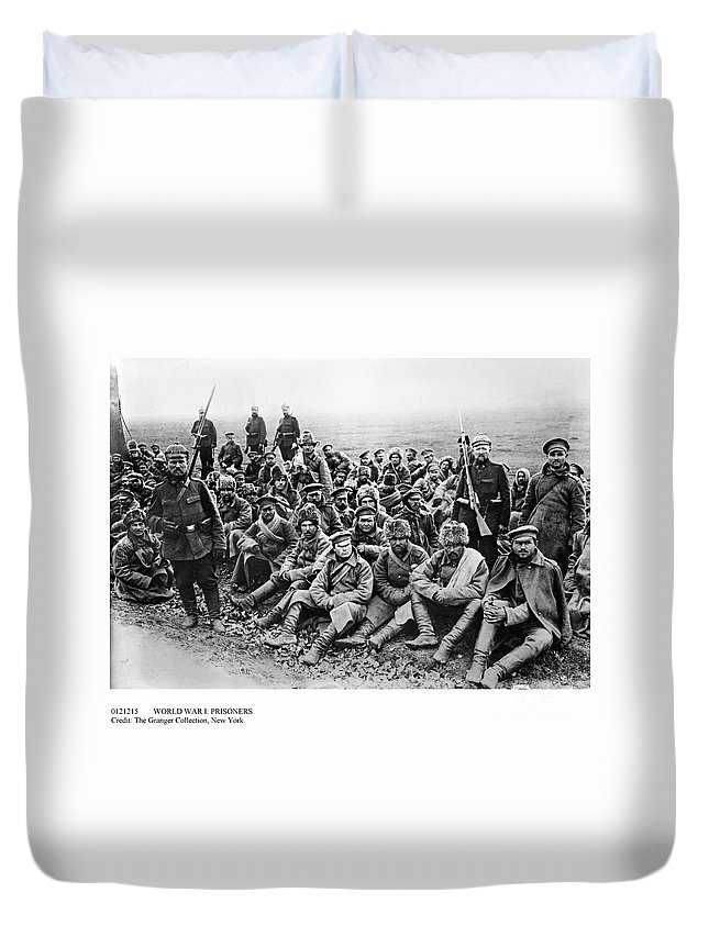 1914 Duvet Cover featuring the photograph World War I: Prisoners by Granger
