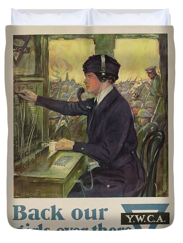 'back Our Girls Over There' Duvet Cover featuring the painting World War I Ywca Poster by Clarence F Underwood