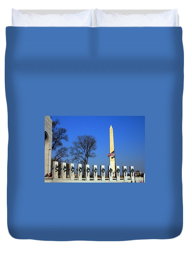 Clay Duvet Cover featuring the photograph World War II Memorial And Washington Monument by Clayton Bruster