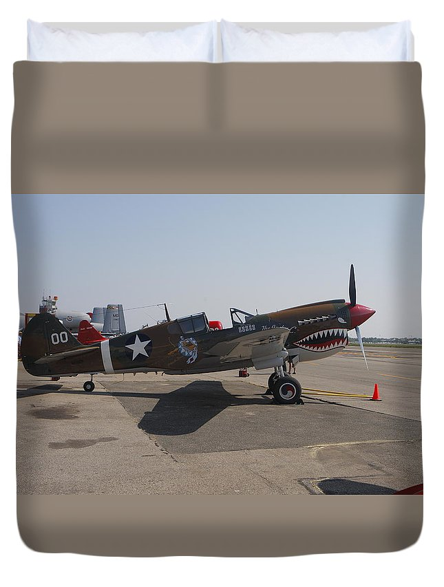 World War Two Duvet Cover featuring the photograph World War II Plane P-40 Thunderbolt by Victor Alcorn
