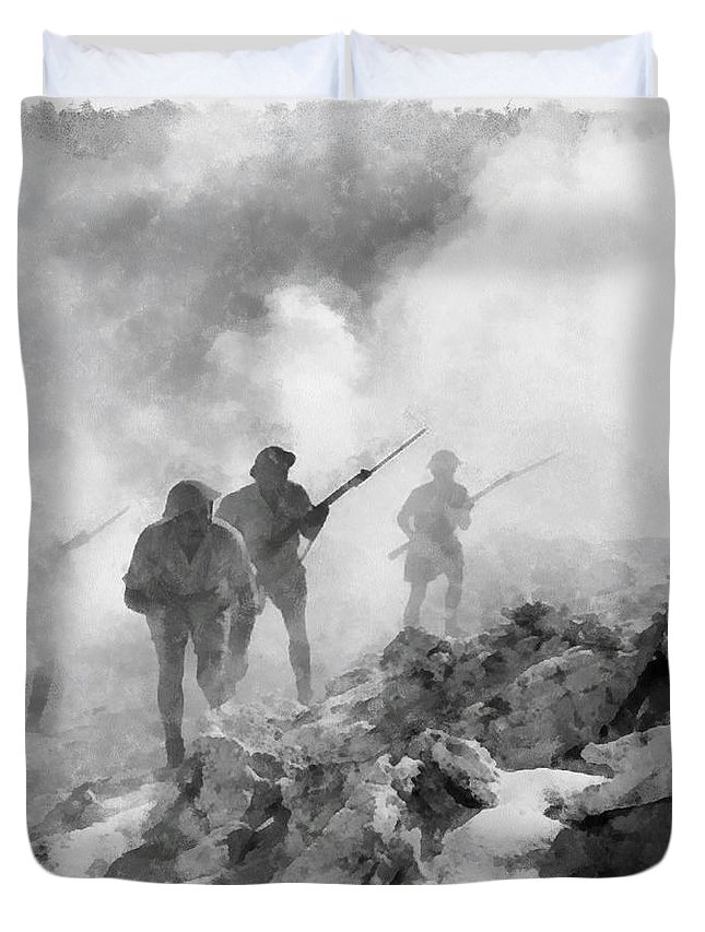 Watercolour Duvet Cover featuring the painting World War Two Battle By John Springfield by John Springfield
