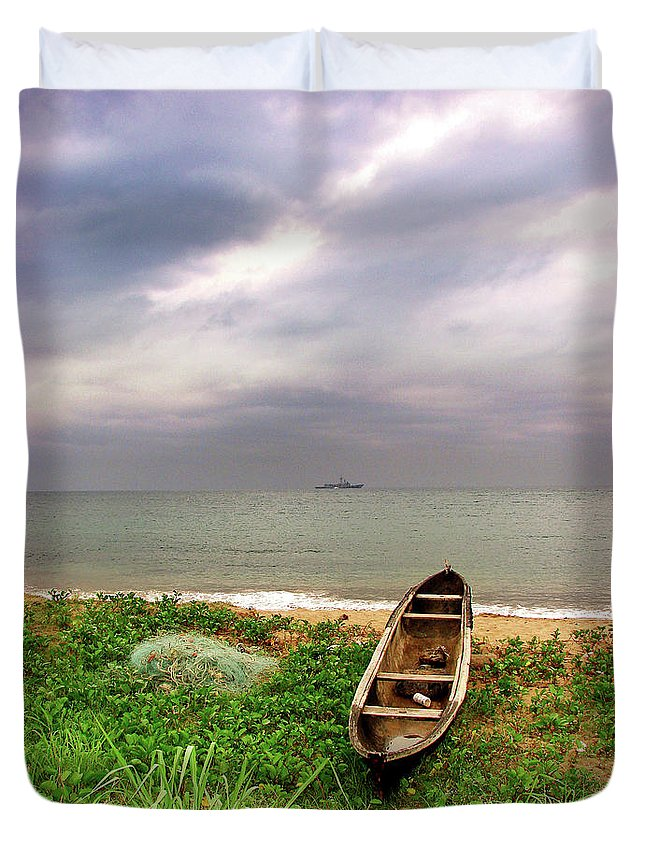 Sao Tome And Principe Duvet Cover featuring the photograph Worlds Apart by Brett Winn