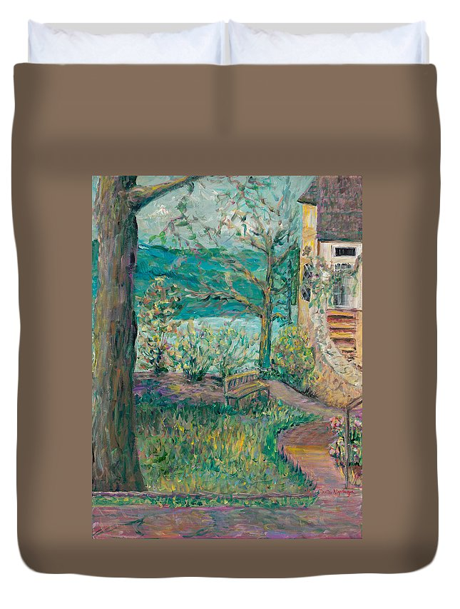 Big Cedar Lodge Duvet Cover featuring the painting Worman House At Big Cedar Lodge by Nadine Rippelmeyer