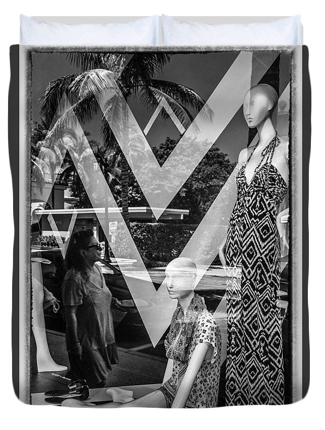 Florida Duvet Cover featuring the photograph Worth Ave Reflections 0487 by Bob Neiman