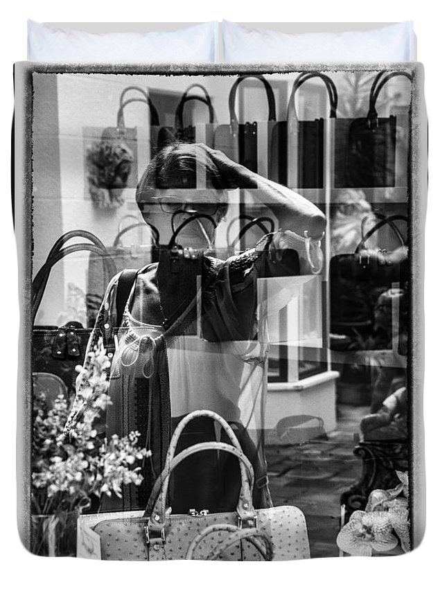 Florida Duvet Cover featuring the photograph Worth Ave Reflections 0503 by Bob Neiman