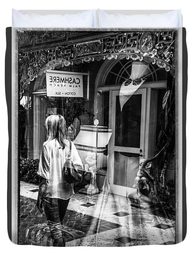 Florida Duvet Cover featuring the photograph Worth Ave Reflections 0509 by Bob Neiman