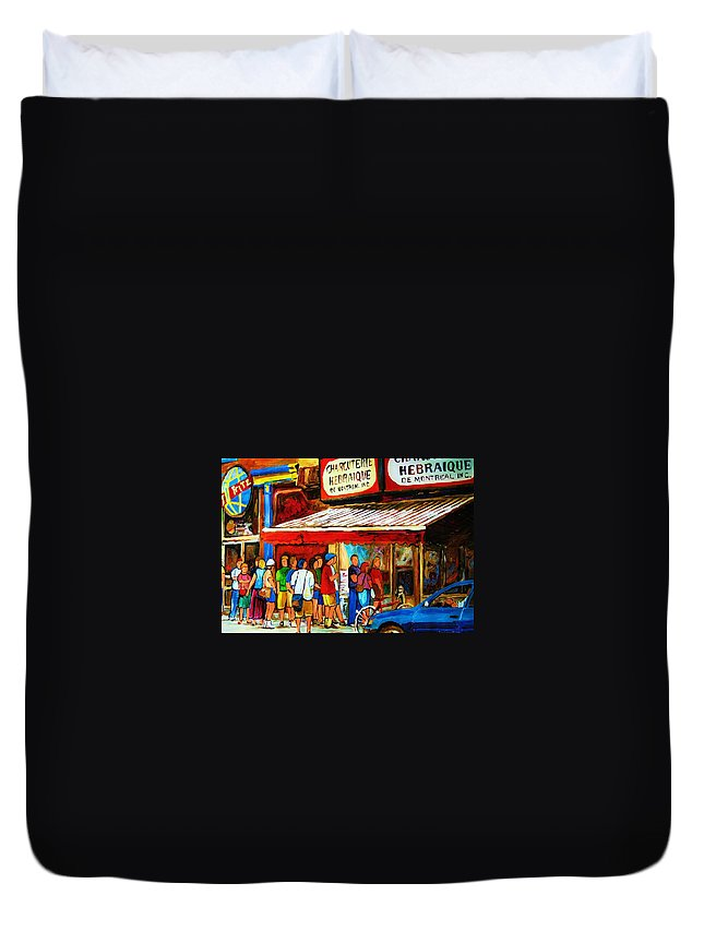 Montreal Streetscenes Duvet Cover featuring the painting Worth The Wait by Carole Spandau