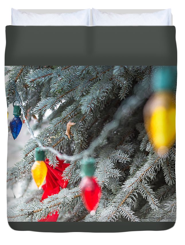 Christmas Duvet Cover featuring the photograph Wrap A Tree In Color by Lora Lee Chapman