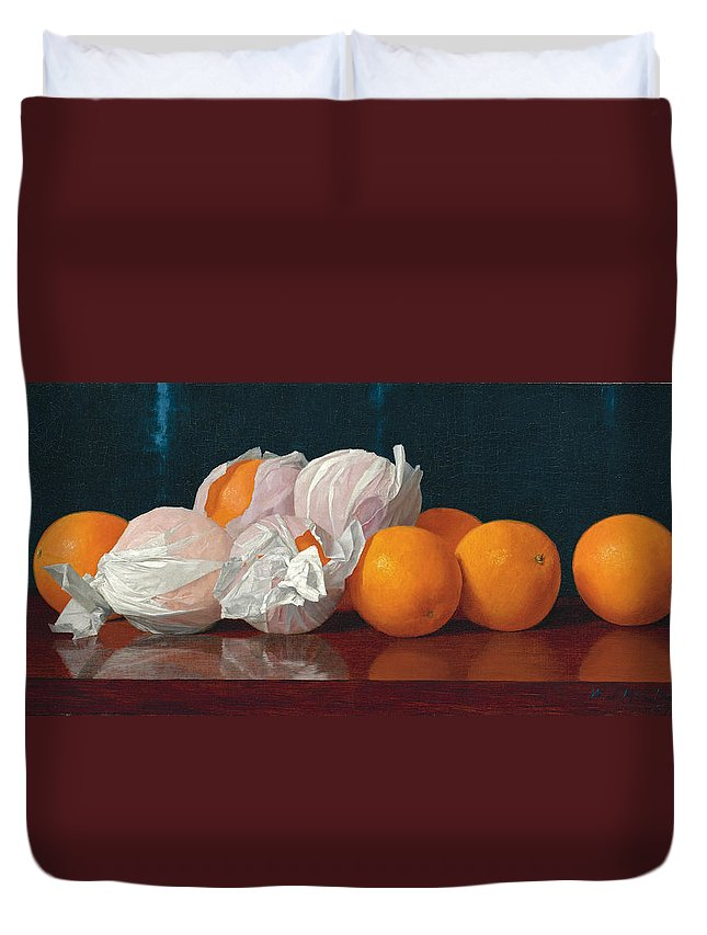 William Joseph Mccloskey Duvet Cover featuring the painting Wrapped Oranges On A Tabletop by William Joseph McCloskey