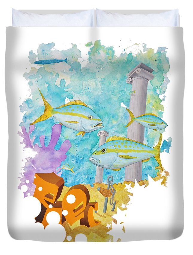 Yellowtail Duvet Cover featuring the painting Wrecked by Mutt Hubbard