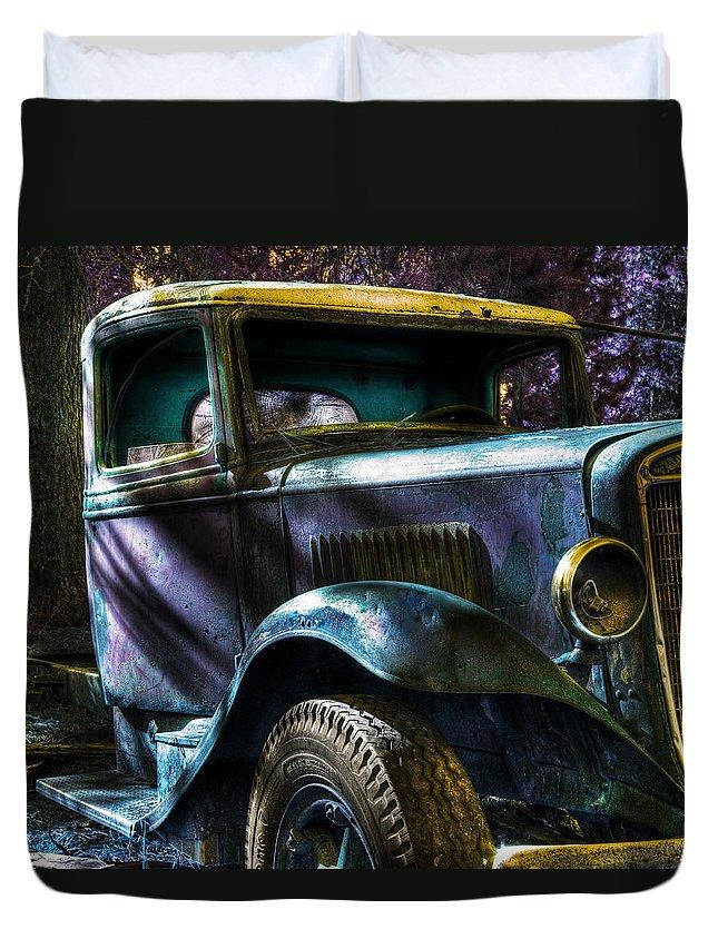 Digital Fantasy Duvet Cover featuring the photograph Wrecking Yard Fantasy by Lee Santa