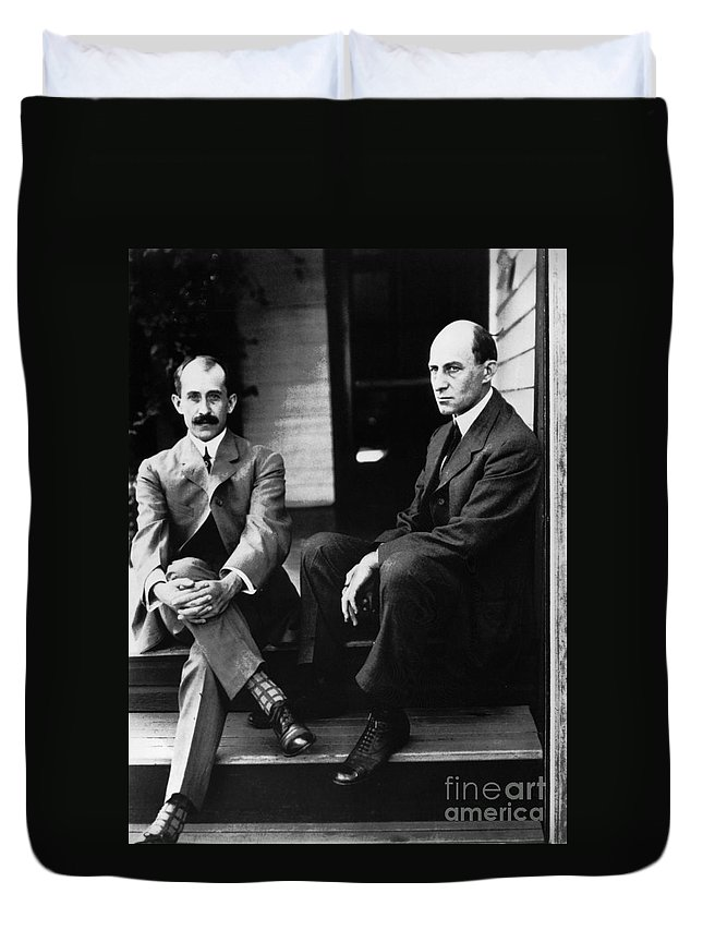 19th Century Duvet Cover featuring the photograph Wright Brothers by Granger