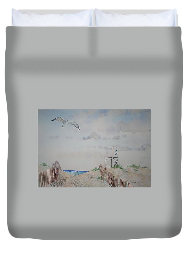 Beach Duvet Cover featuring the painting Wrightsville Beach North Carolina by Tom Harris