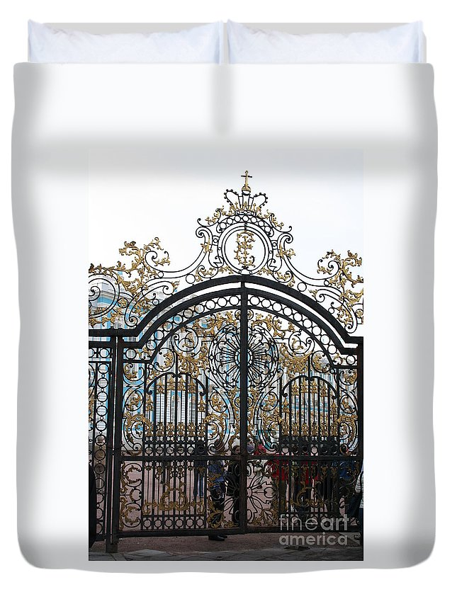 Gate Duvet Cover featuring the photograph Wrought Iron Gate by Christiane Schulze Art And Photography
