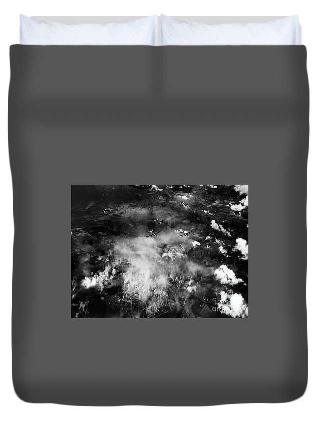 Pantanella Duvet Cover featuring the photograph Wwii B-24 Failed Bombing Auschwitz Sept. 13th by MountainSky S