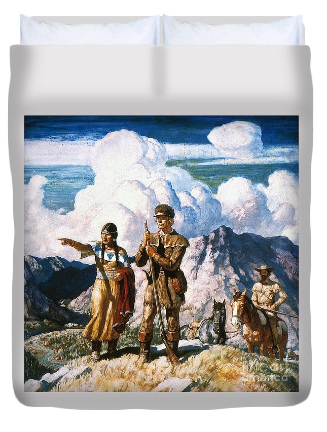 19th Century Duvet Cover featuring the painting Wyeth: Sacajawea by Granger