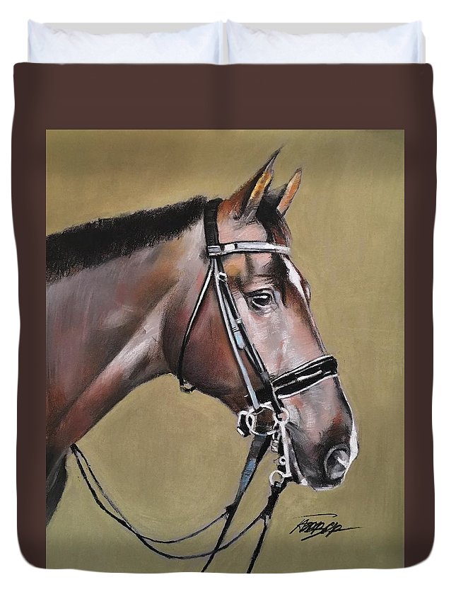 Thoroughbred Duvet Cover featuring the pastel Wynston by Anthony Hedrick