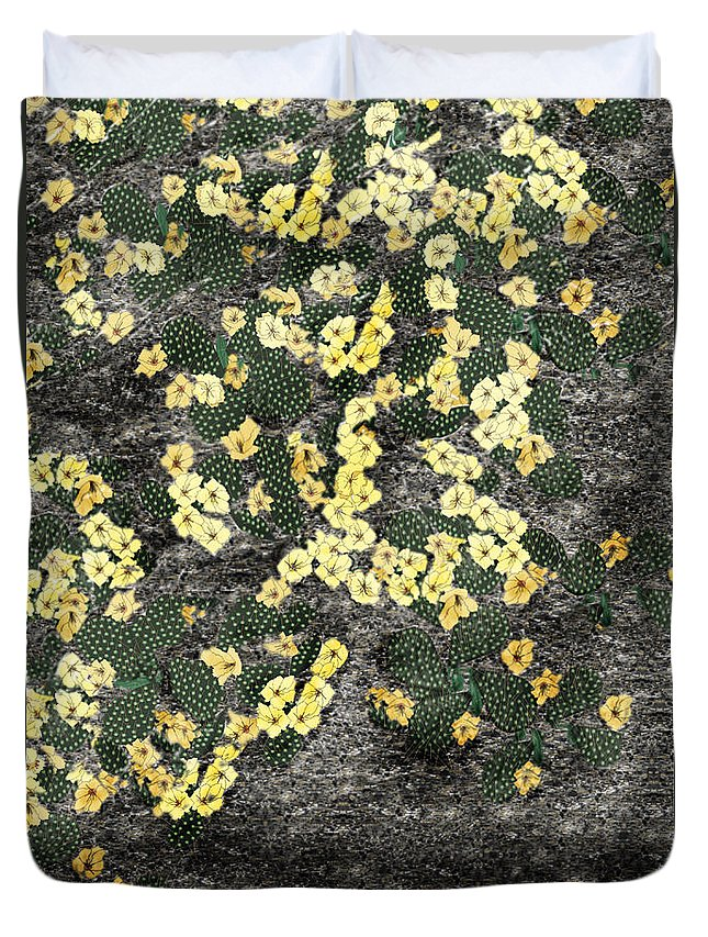 Anne Norskog Duvet Cover featuring the painting Wyoming Cactus by Anne Norskog