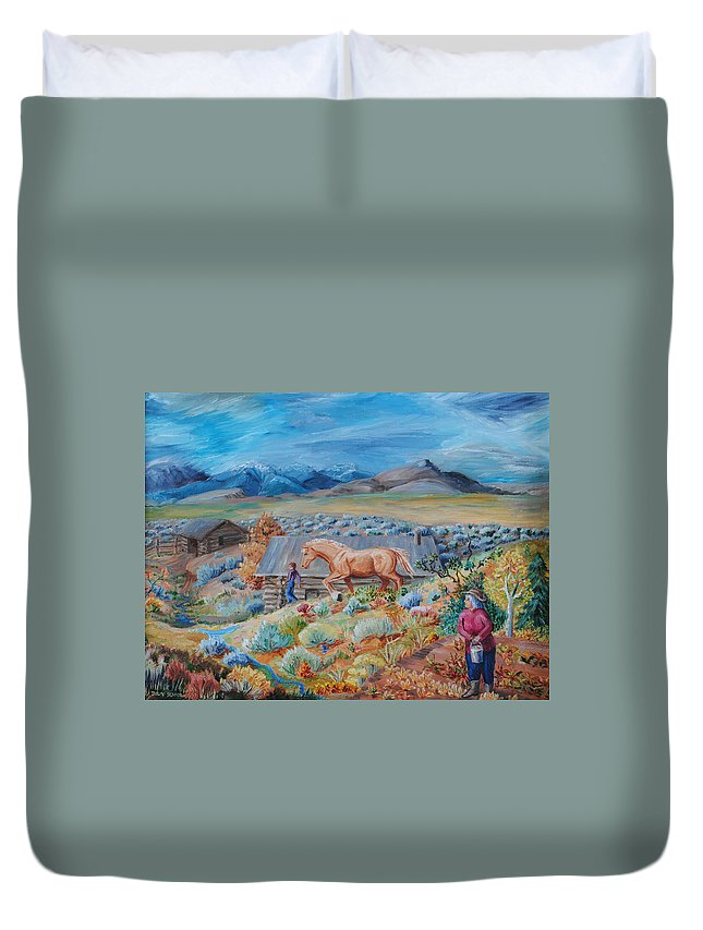 Landscape Duvet Cover featuring the painting Wyoming Ranch Scene by Dawn Senior-Trask