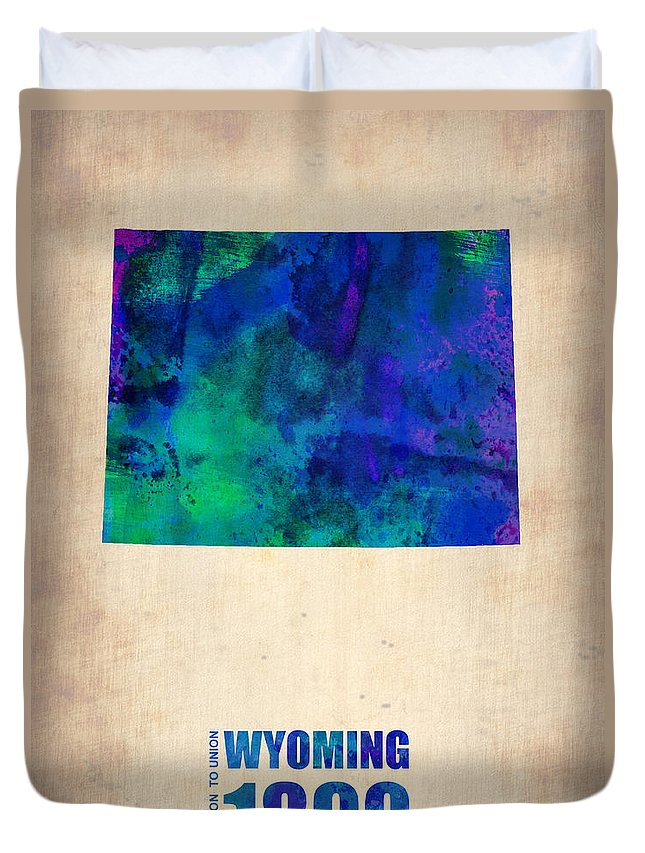 Wyoming Duvet Cover featuring the digital art Wyoming Watercolor Map by Naxart Studio