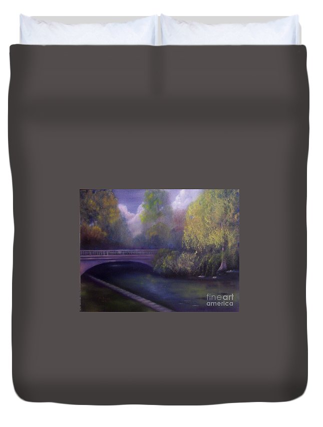 Bridge Duvet Cover featuring the painting Wyomissing Creek Misty Morning by Marlene Book