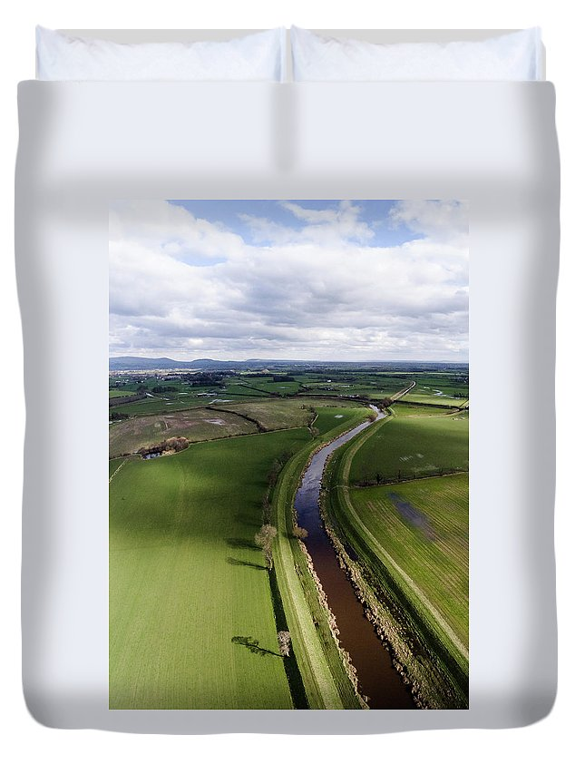 Drone Image Duvet Cover featuring the photograph Wyre From The Air by Russell Millner
