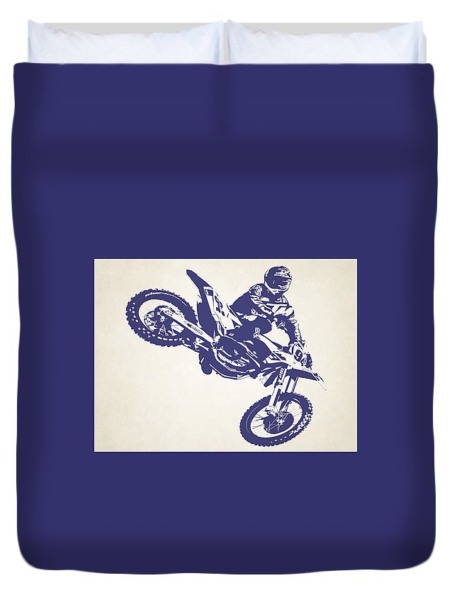 X Games Duvet Cover featuring the photograph X Games Motocross 1 by Stephanie Hamilton