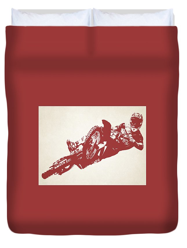 X Games Duvet Cover featuring the photograph X Games Motocross 2 by Stephanie Hamilton