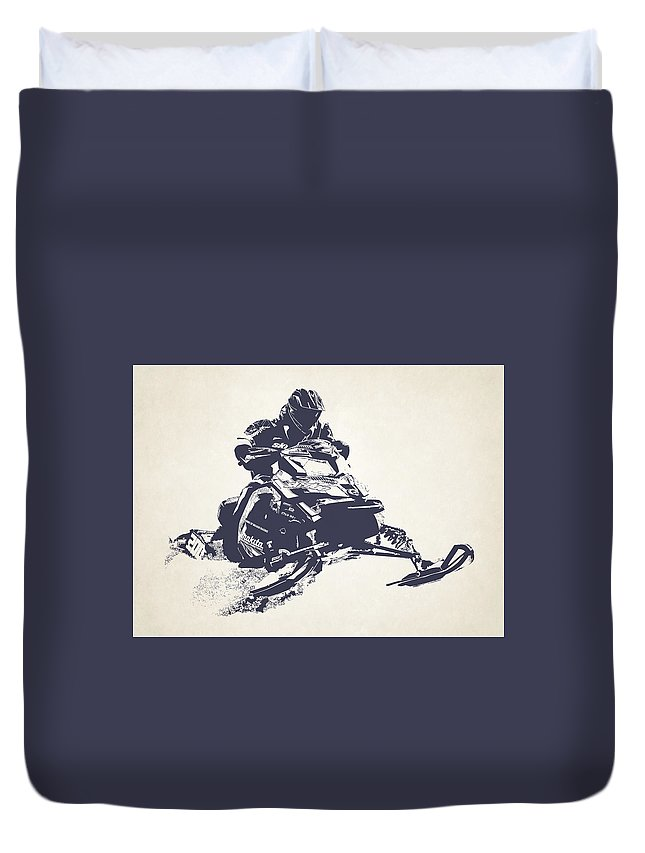 X Games Duvet Cover featuring the photograph X Games Snowmobile Racing 2 by Stephanie Hamilton