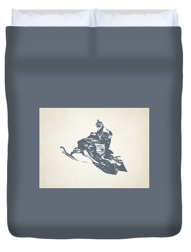 X Games Duvet Cover featuring the photograph X Games Snowmobile Racing 3 by Stephanie Hamilton