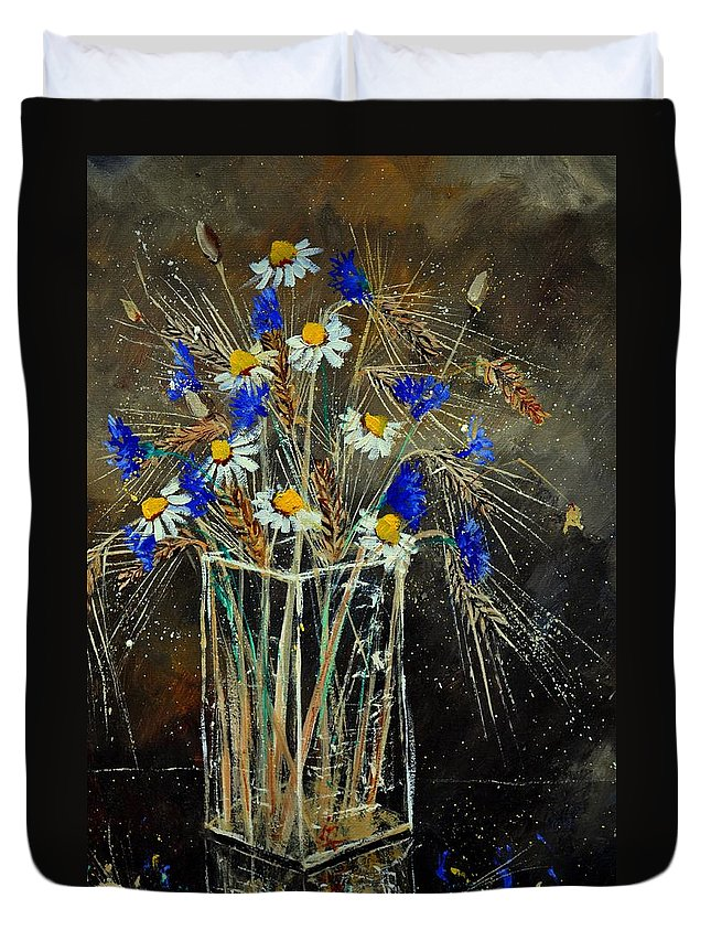 Flowers Duvet Cover featuring the painting Xav's Bunch by Pol Ledent